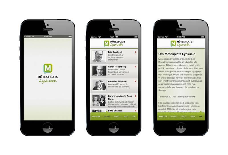 Appen till Mötesplats Lycksele skapade i syfte att underlätta för besökaren att ta till sig information om eventet.